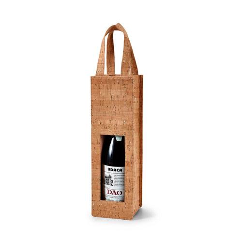 Bolsa de corcho para 1 botella de vino.
