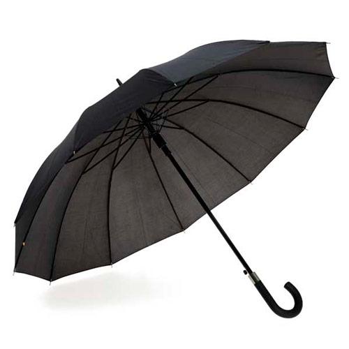 Paraguas negro de 12 varillas automático.