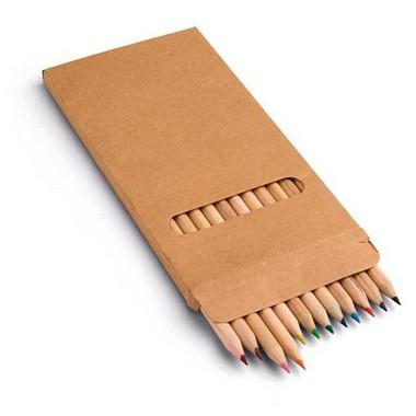 Caja cartón con 12 lápices de color.