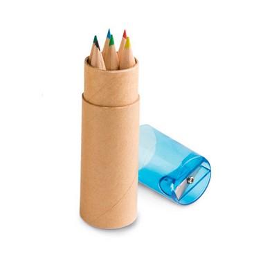 Caja tubo con 6 lápices de color y sacapunta