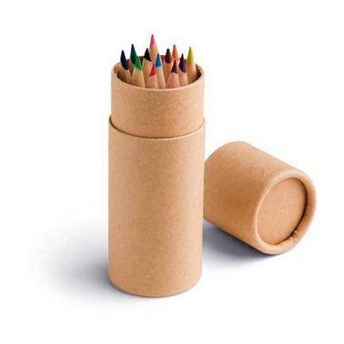 Caja tubo con 12 lápices de color.