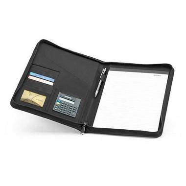 Portafolios A4 microfibra con calculadora.