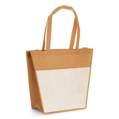 Bolsa compra con bolsillo beig.