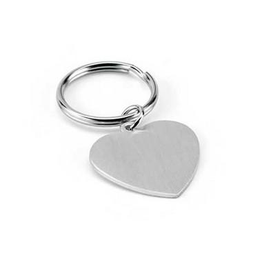 Llavero aluminio y metal forma corazón.