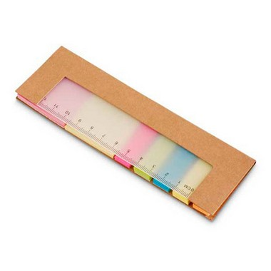 Bloc de post-it con regla. 7 sets 25 colores