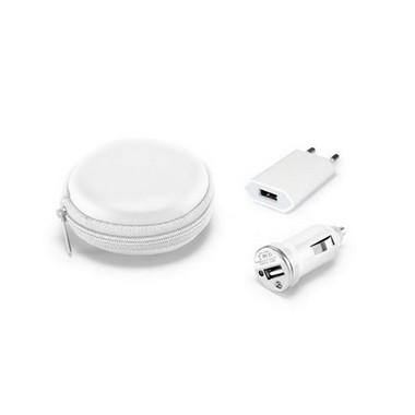 Cargadores USB. Con estuche blanco