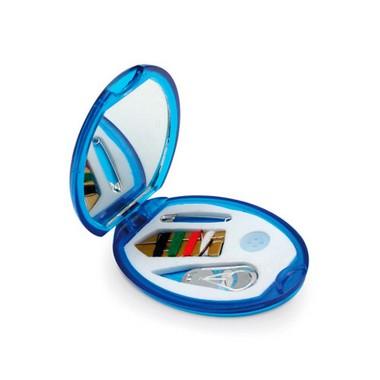 Costurero ovalado con espejo de viaje.