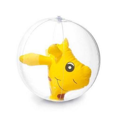 Balón hinchable transparente con muñeco.