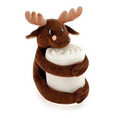 Manta con peluche ciervo marrón y blanca.
