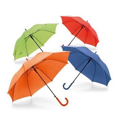 Paraguas mango goma en 4 colores.