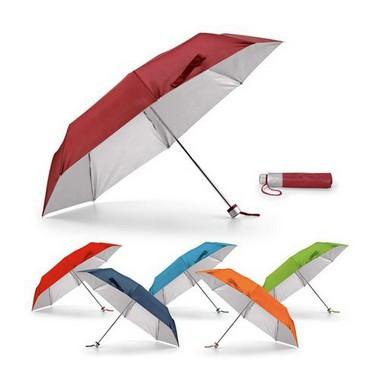 Paraguas plegable 6 colores y fondo plata.