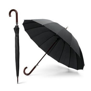 Paraguas mango madera de 16 varillas.