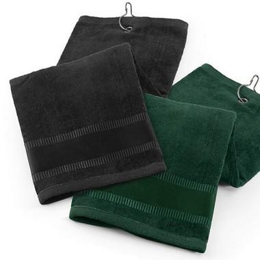 Toalla de golf verde oscura o marrón.