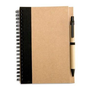 Libreta de papel reciclado y bolígrafo de cartón