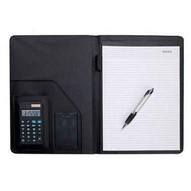 Portafolios A4 con calculadora, bolígrafo y bloc
