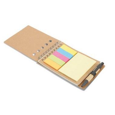 Libreta con bolígrafo y marcad